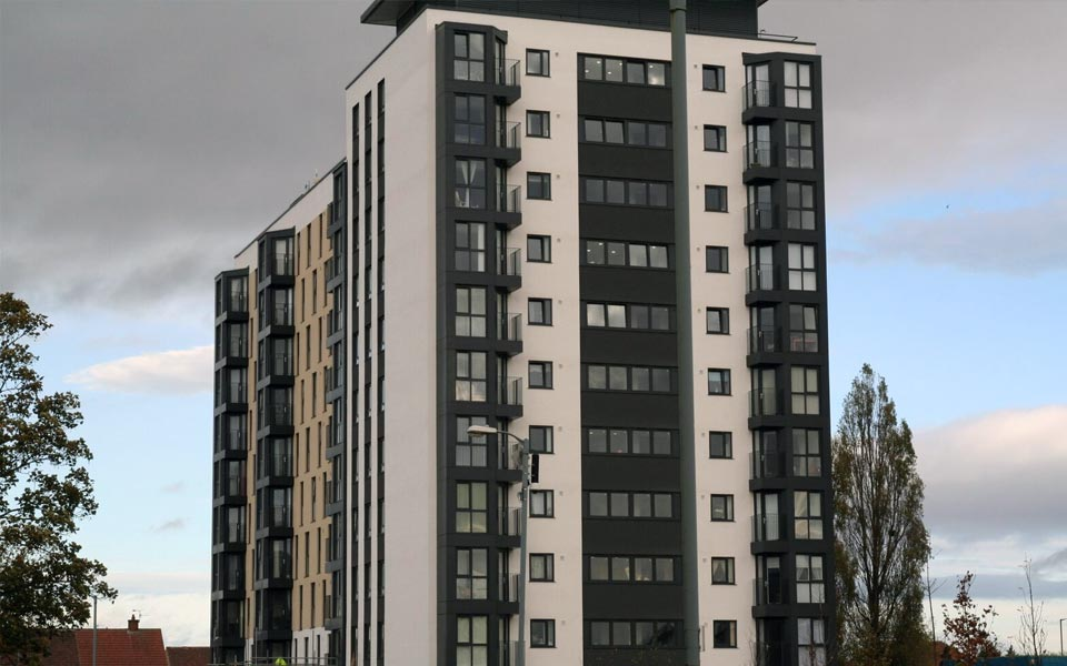 Black uPVC casement windows supplied for large multi-storey building