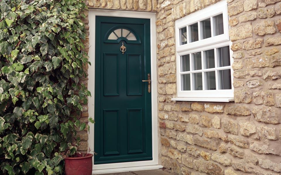 Green UPVC entrance door